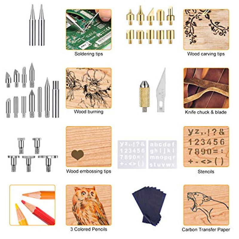 Stencil Pencil Woodburning Tool with Soldering Iron Carbon Transfer Paper Carrying Case,Red Stand Holife 43PCS Wood Burning Kit Wood Burning//Soldering//Carving//Embossing Tips