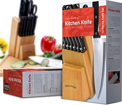 Knife Set with Wooden Block 13 Piece - Chef Knife, Bread Knife, Carving Knife, Utility Knife, Paring Knife, Steak Knife, and Scissors