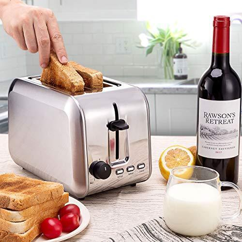 2 Slice Toaster, CUSIBOX Extra Wide Slots Stainless Steel Toaster with 7 Bread Browning Settings, REHEAT/DEFROST/CANCEL Function, 750W