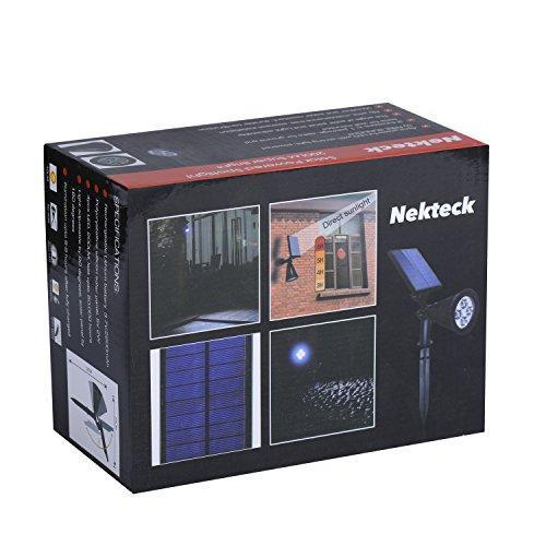 Nekteck Solar Powered Garden Spotlight - Outdoor Spot Light for Walkways, Landscaping, Security, Etc. - Ground or Wall Mount Options (2 Pack, White)