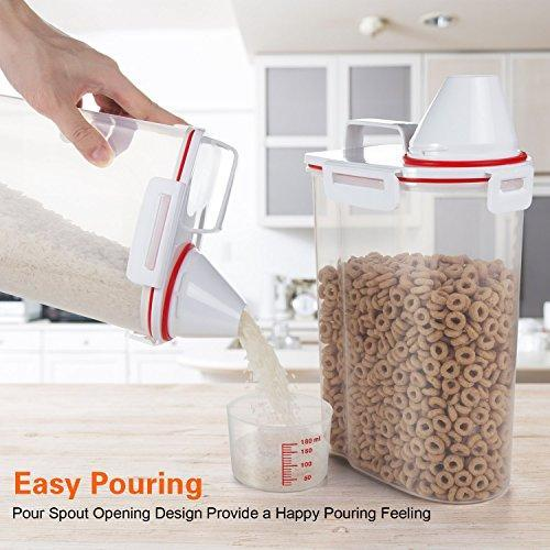 Mini Dry Food Storage Container - Rice Container with Pour Spout + Cup - Handy Dry Food Keeper for Sugar Beans Grain Candy 1.5L Blue
