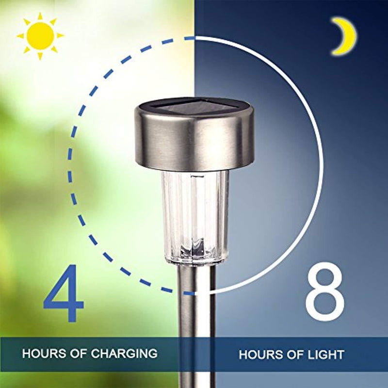 GIGALUMI Solar Lights Outdoor Garden Led Light Landscape/Pathway Lights Stainless Steel-12 Pack