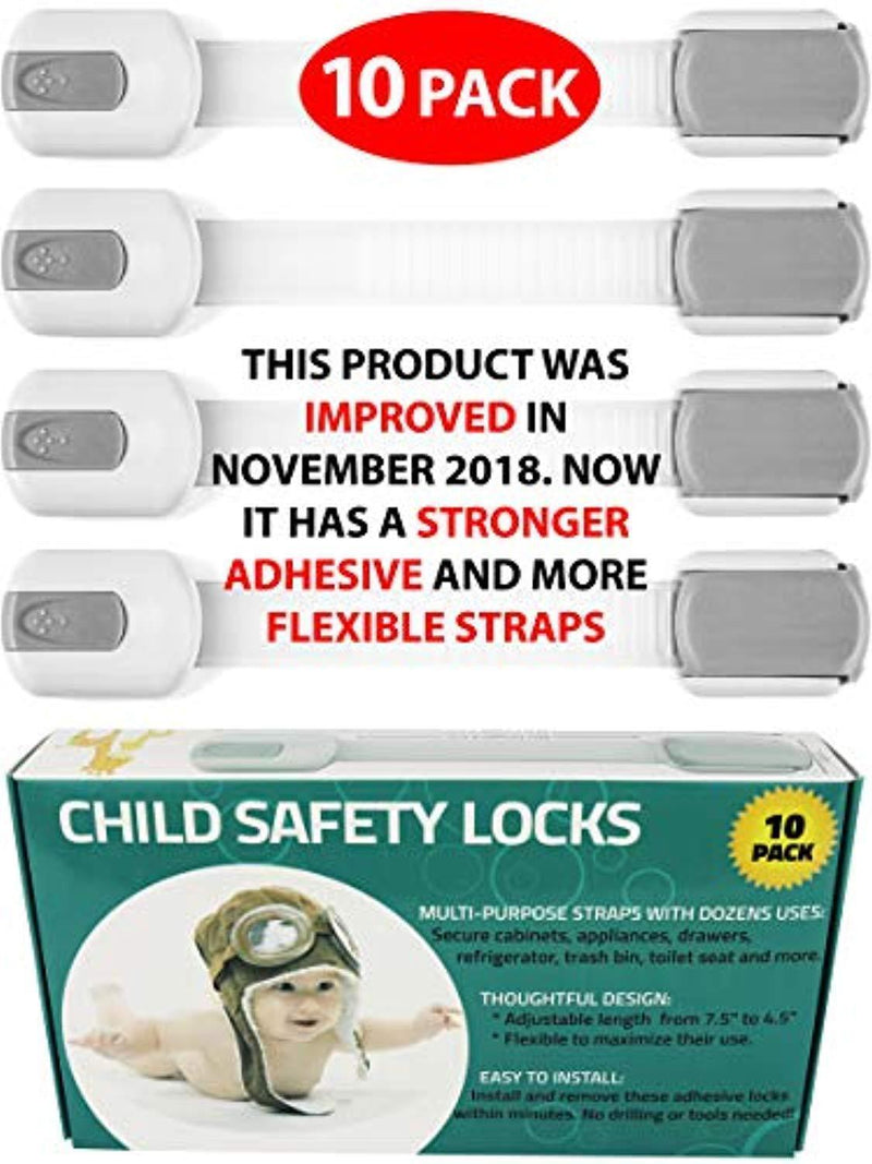 Child Safety Locks -VALUE PACK (10 Straps)- No Tools or Drilling -Adjustable Size/Flexible -Adhesive Furniture Latches For Baby Proofing Cabinets, Drawers, Appliances, Toilet Seat, Fridge, Oven & More