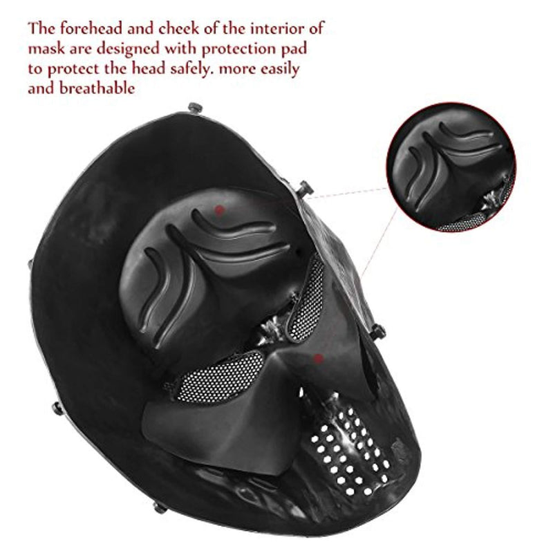 Unomor Halloween Mask Full Face Skull Mask Tactical Mask with Metal Mesh Eyes Protection - Black