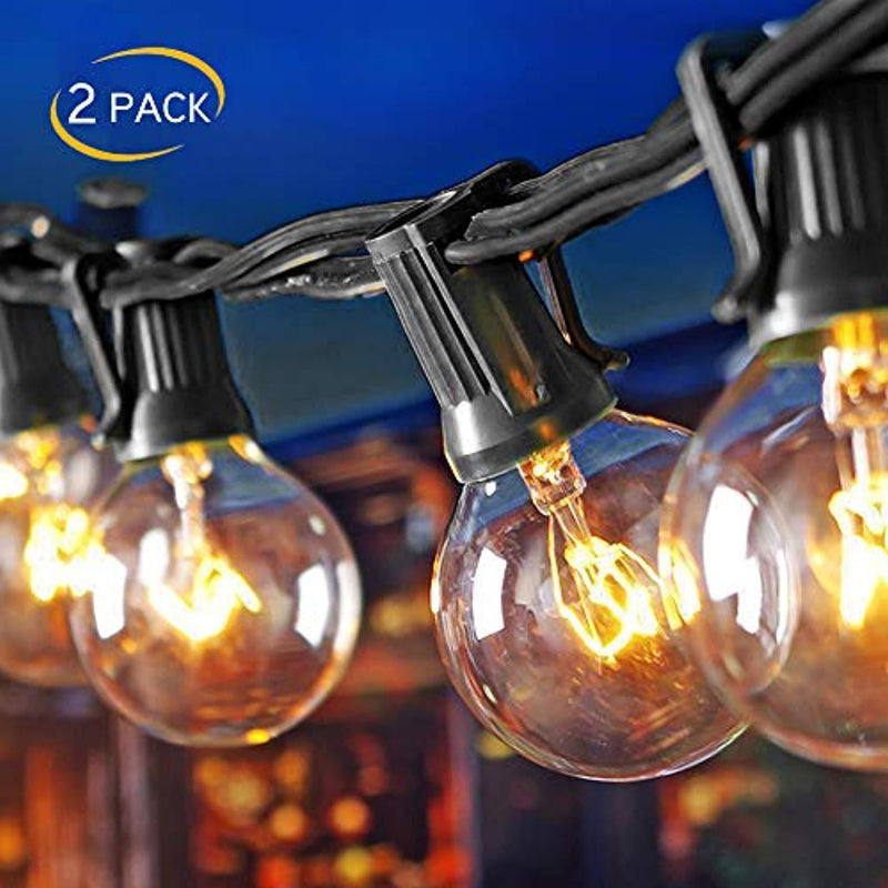 (2 Pack) 25Ft Outdoor Patio String Lights with 25 Clear Globe G40 Bulbs and 1 Spare Bulb, UL listed Hanging Indoor/Outdoor String Lights, Perfect for Backyard Porch Garden Market(52 Bulbs 50FT)