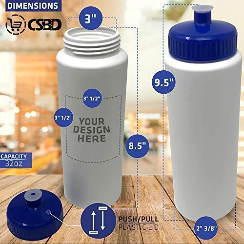 CSBD 32oz Sports Water Bottles, 4 Pack, Reusable No BPA Plastic, Pull Top Leakproof Drink Spout, Blank DIY Customization for Business Branding, Fundraises, or Fitness