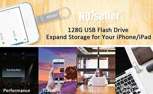NO1seller Top Flash Drive for iPhone 128GB,USB Tpye C 3.0 Flash Drive Memory Stick for iPhone iPad PC Android External Storage,3 in 1 Photo Stick Space Gray