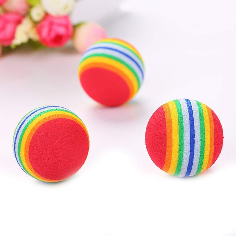 Weihuimei 1Pcs Rainbow 4.2cm Cat Toy Ball Interactive Cat Toys Play Chewing Rattle Scratch EVA Ball Training Pet Supplies