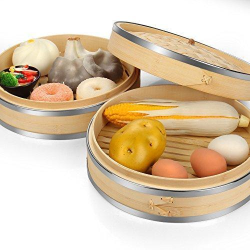 Flexzion Bamboo Steamer Basket Set (10 inch) with Stainless Steel Banding 50x Steamer Liners and 2 Pairs of Chopsticks, Chinese Steamer for Cooking Food
