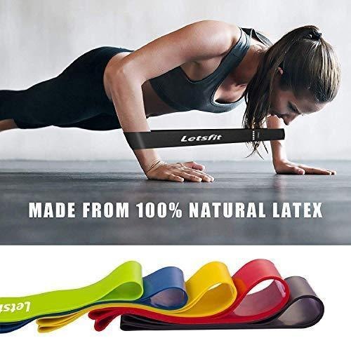 "Letsfit Resistance Loop Bands, Resistance Exercise Bands for Home Fitness, Stretching, Strength Training, Physical Therapy, Natural Latex Workout Bands, Pilates Flexbands, 12"" x 2"""