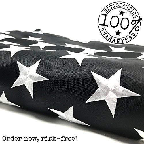Thin Blue Line Flag: 100% US Made 4x6 ft with Embroidered Stars - Sewn Stripes - Brass Grommets - UV Protection - Black White and Blue American Police Flag Honoring Law Enforcement Officers