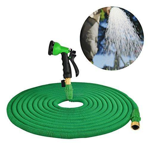 HOMER Garden Hose Improved Version,Garden Hose Pipe Expandable with Extra Strength Stretch Material and Brass Connectors Bonus FREE 8 Way Spray Nozzle,Carrying Bag and Holder Hanger (Green) by (50ft)