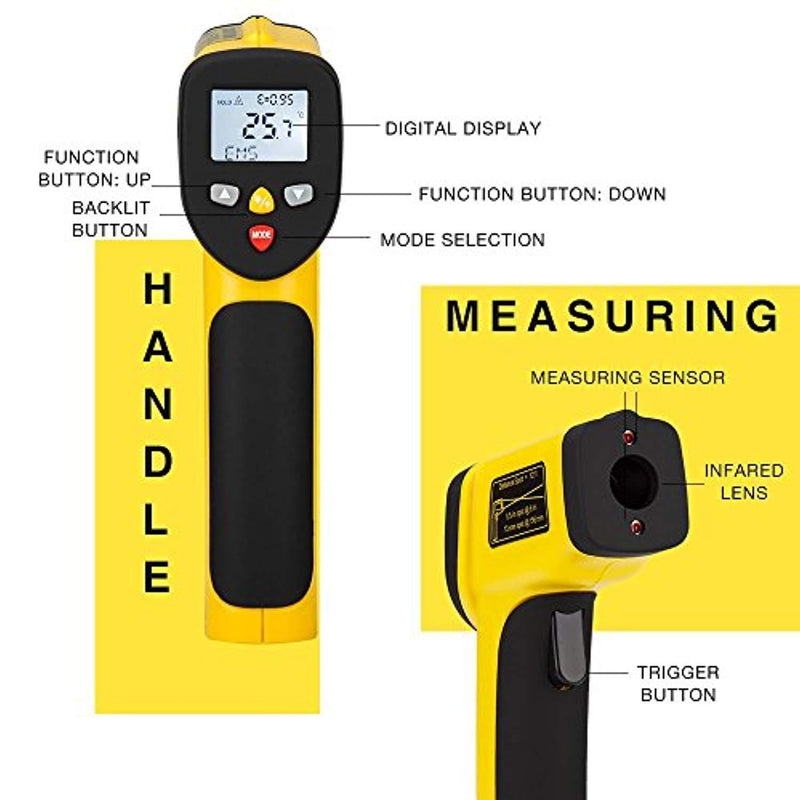 AVANTEK Dual Laser Infrared Thermometer -58 ºF - 1562 ºF (-50 ºC - 850 ºC), Non-Contact Digital IR Temperature Gun, Adjustable Emissivity, MAX/MIN/DIF/AVG Modes with Temperature Alarm