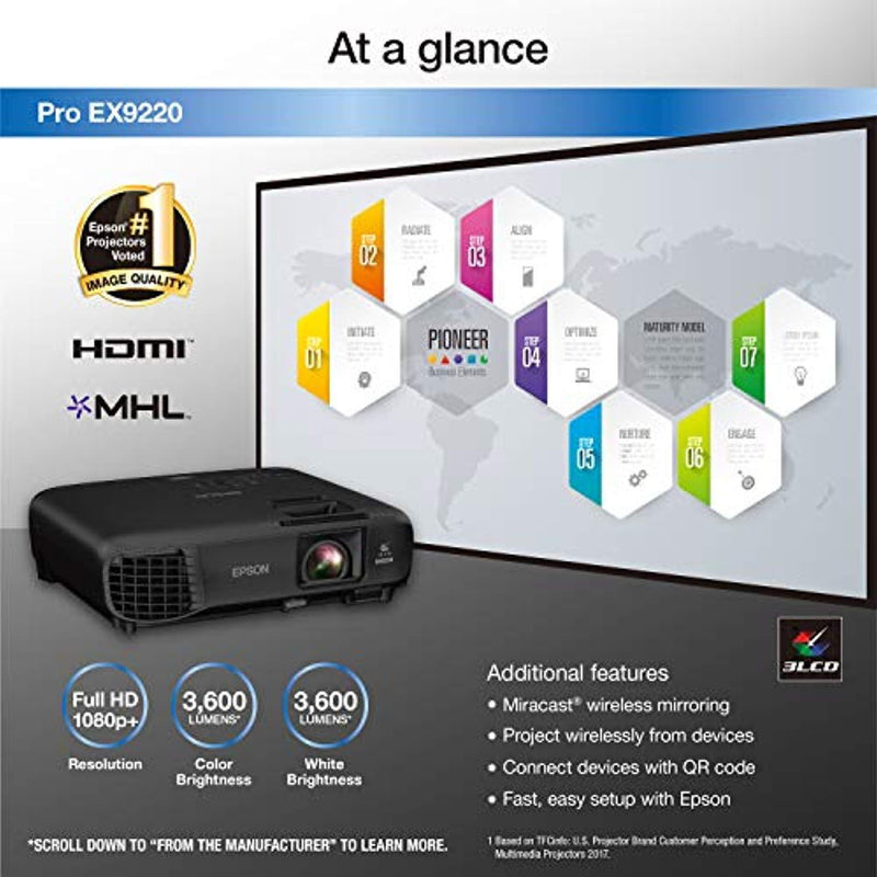 Epson Pro EX9220 1080p+ WUXGA 3,600 lumens color brightness (color light output) 3,600 lumens white brightness (white light output) wireless Miracast HDMI MHL 3LCD projector