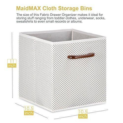 MaidMAX Foldable Storage Cubes, Set of 6 Decorative Fabric Storage Bins Containers Organizers Drawers with Wood Handles for Shelves Clothes Closet Kids Bedroom, Gray Polka Dot