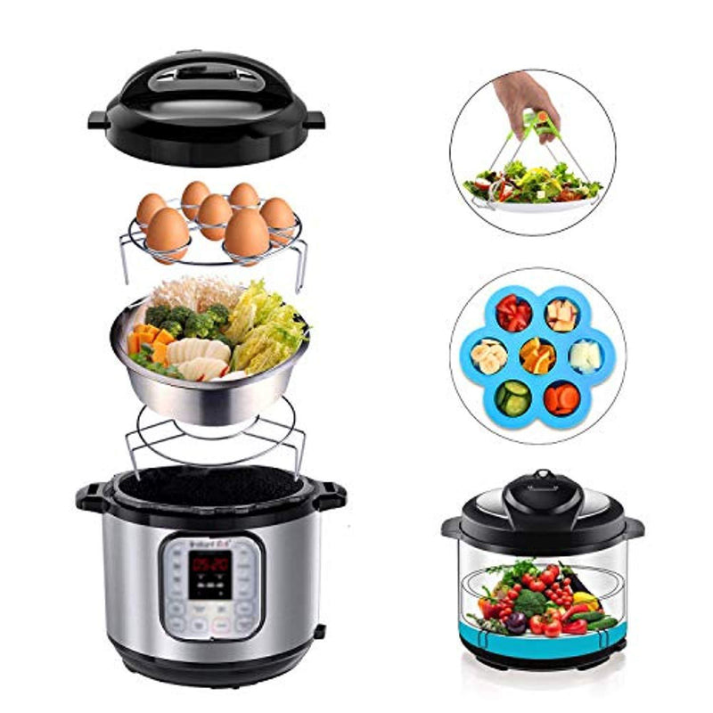 5-Piece Accessories for Instant Pot, ZOUTOG Steamer Cookware Set with Steamer Basket/Egg Steamer Rack/Steam Rack/Egg Bites Molds/Dish Clip - Fits 5, 6 and 8 Qt Pressure Cooker