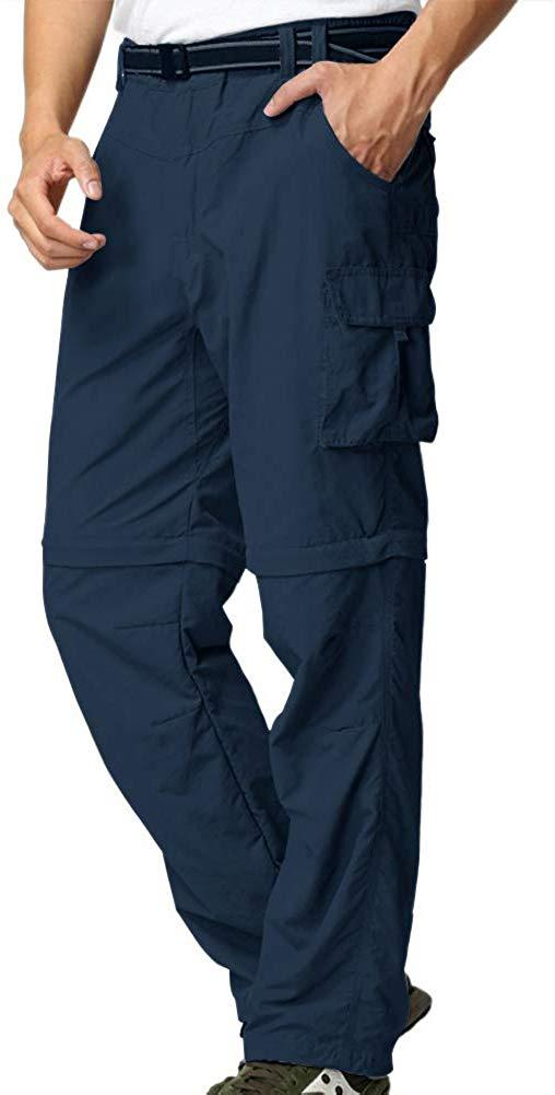 Mens Hiking Pants Adventure Quick Dry Convertible Lightweight Zip Off Fishing Travel Mountain Trousers