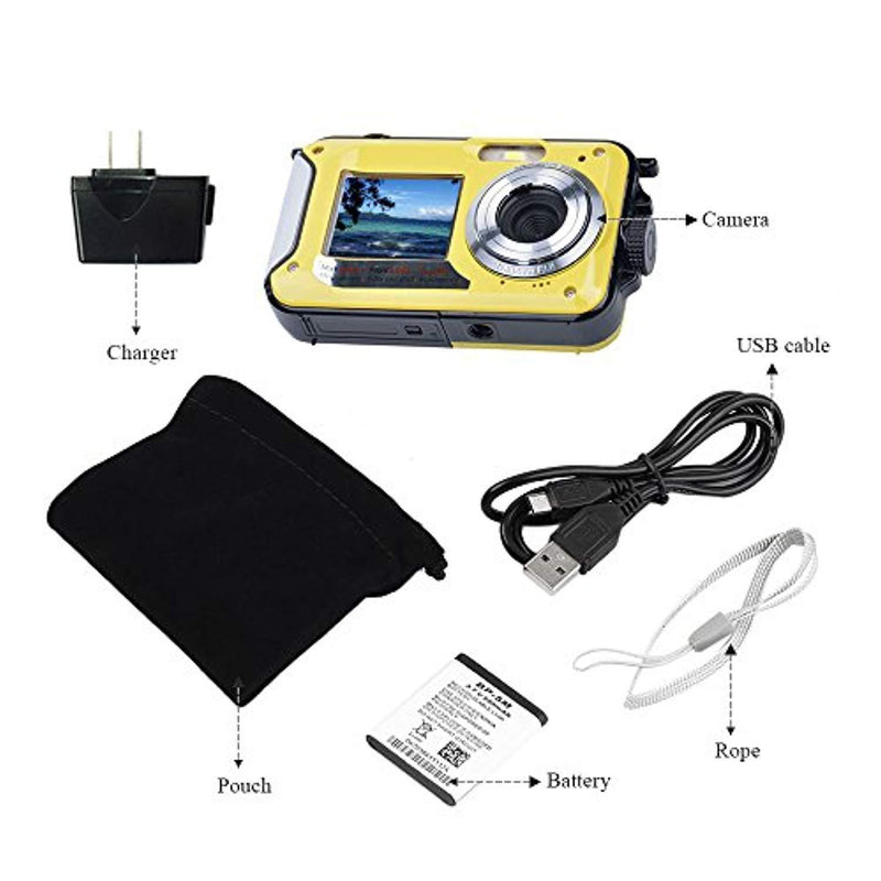 Underwater Camera Full Hd 1080P Waterproof Digital Camera 24.0MP Underwater Digital Camera Dual Screen Point and Shoot Waterproof Camera (E1)