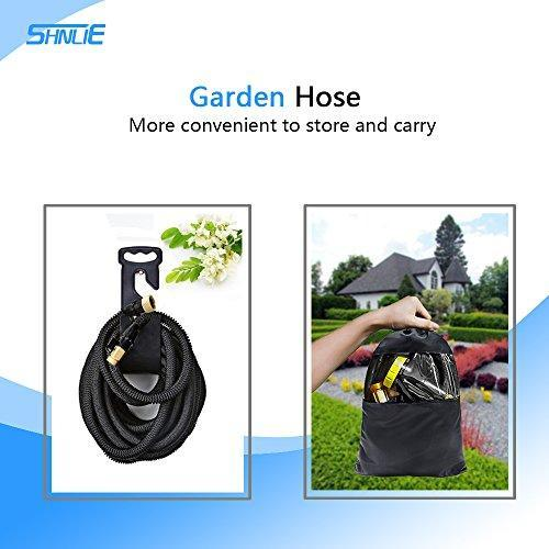 "Brightsv Garden Hose 100 ft - All New Expandable Water Hose with Double Latex Core, 3/4"" Solid Brass Fittings, Extra Strength Fabric - Flexible Expanding Hose with Metal 9 Function Spray Nozzle"