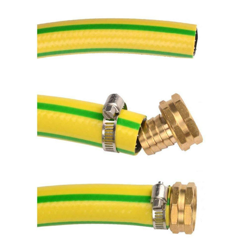 AraZen Garden Hose Mender End Repair Kit- 4 Sets Female and Male Hose Connector,3/4 inch Brass Water Hose End Mender with Stainless Steel Clamp