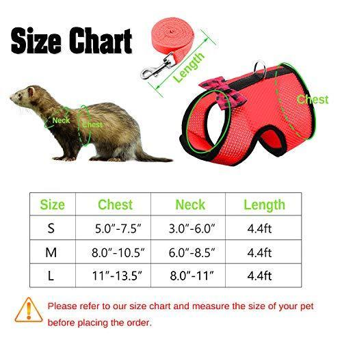RYPET Small Animal Harness and Leash - Soft Mesh Small Pet Harness with Safe Bell, No Pull Comfort Padded Vest for Small Pet