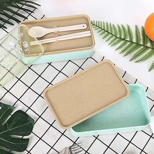 Buringer Lunch Bento Box Food Storage 2 Square Containers for Adults School Work Wheat Grass BPA Free Leak Proof with Chopsticks and Spoon (Long Khaki)