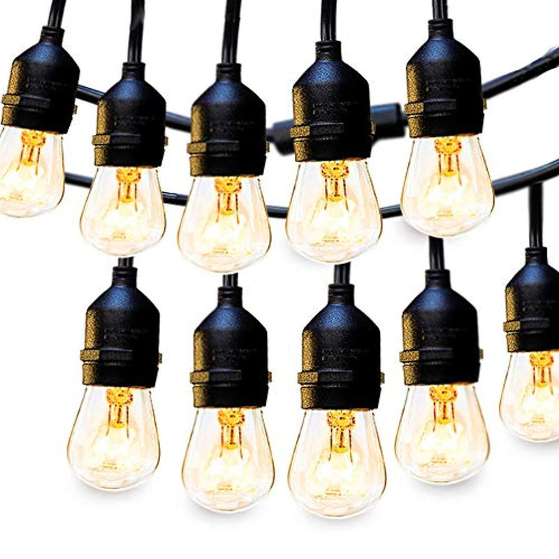 2 Pack 48FT Outdoor String Lights Commercial Great Weatherproof Strand - Dimmable Edison Vintage Bulbs 15 Hanging Sockets, UL Listed Heavy-Duty