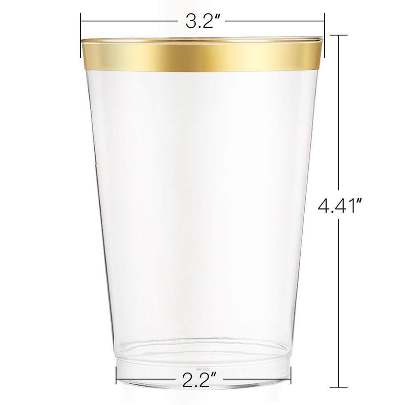 12 oz Gold Rimmed Plastic Cups-100 pack | Clear Disposable Cups with Golden Rims | Drinking Party Supplies | Glassware for Wedding Reception, Baby Shower, and Parties