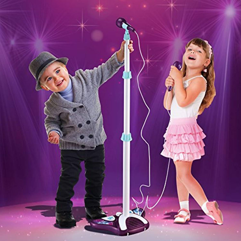 Little Pretender L P Kids Karaoke Machine with 2 Microphones and Adjustable Stand, Music Sing Along with Flashing Stage Lights and Pedals for Fun Musical Effects
