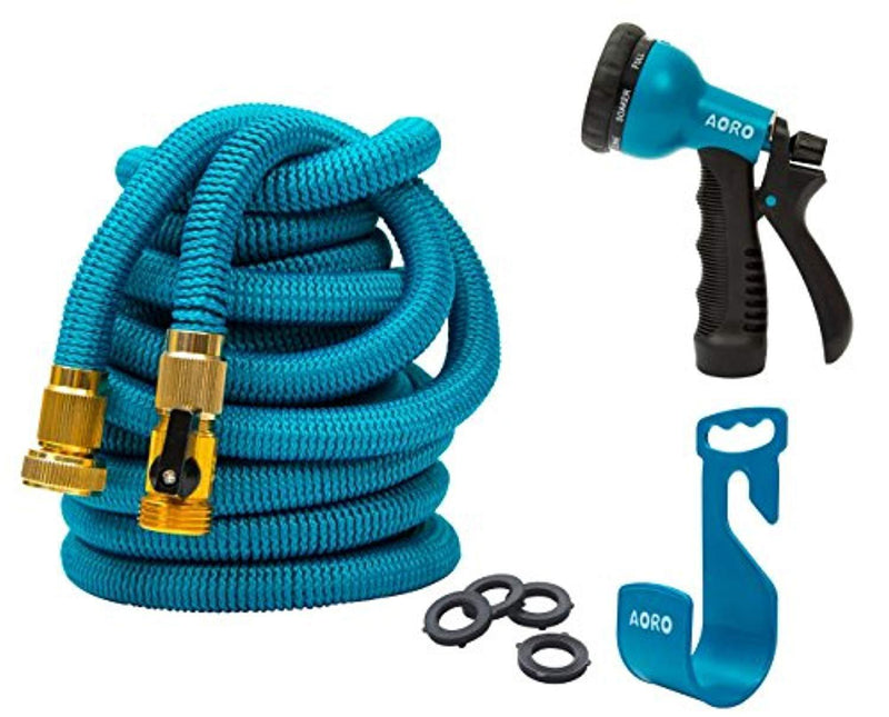 AORO Expandable Garden Hose, 50ft Flexible Expanding Hose with Natural Triple Layer Latex Core,Solid Brass Connector (with Valve), Storage Sack, Hose Holder and 8 Pattern Spray Nozzle,Blue