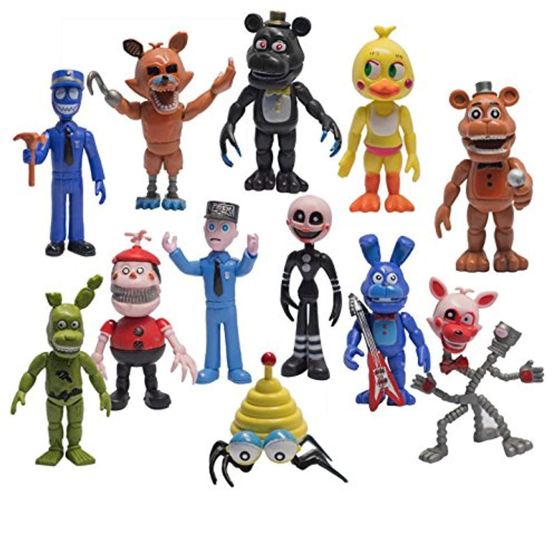 Toy Innovation Five Nights style Action Figures Freddy Toys Dolls (12 Piece), 4""