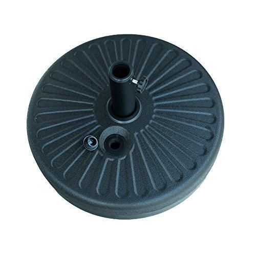 FLAME&SHADE Patio Umbrella Stand Outdoor Parasol Base Weight Plastic Sand Water Filled Round 80lb Black