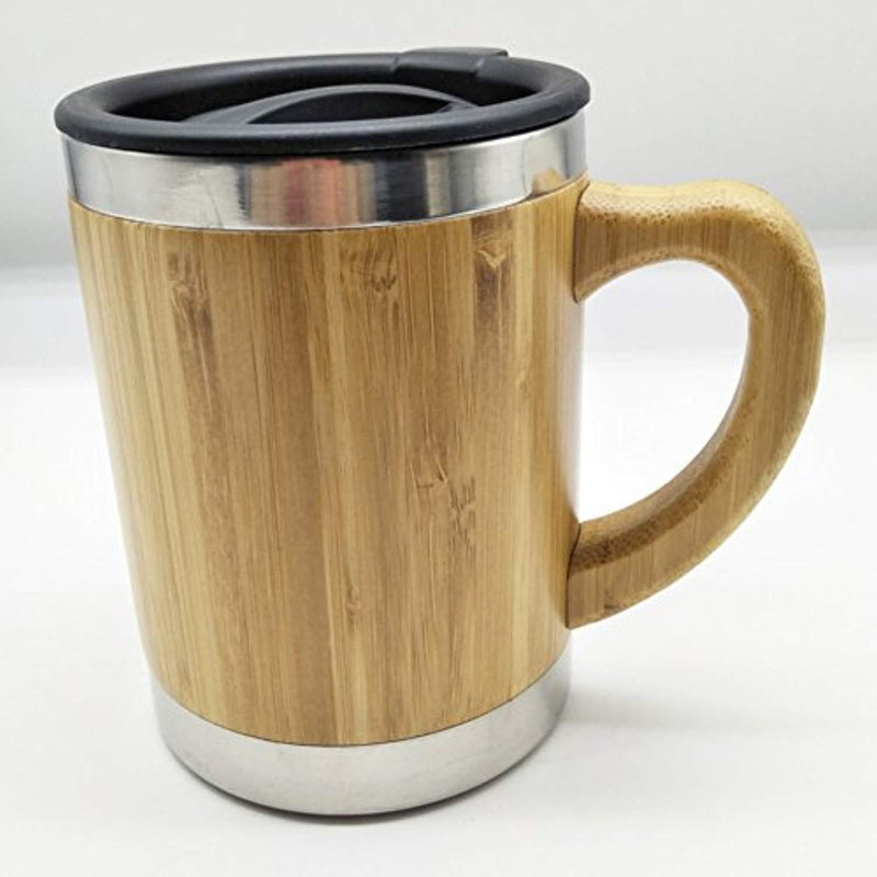 OsirisCo Stainless Steel Wooden Coffee-Tea Mug with Handle and Lid, Environmentally Healthy Natural Bamboo 400ml (13.5oz)