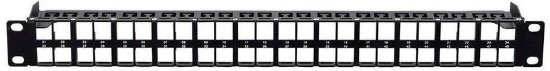 Monoprice Blank Keystone UTP Patch Panel - 48 Ports, Networking, 1U, with Wire Support Bar