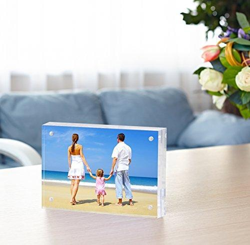 "Acrylic Picture Frame 5x7"", Double Sided Magnetic Photo Frames 20% Thicker Blcoks, Frameless Desktop Display Retail Gift Box Package (0.95inch, 5 Pack)"