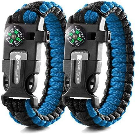 X-Plore Gear Emergency Paracord Bracelets | Set of 2| The Ultimate Tactical Survival Gear| Flint Fire Starter, Whistle, Compass & Scraper | Best Wilderness Survival-Kit for Camping/Fishing & More