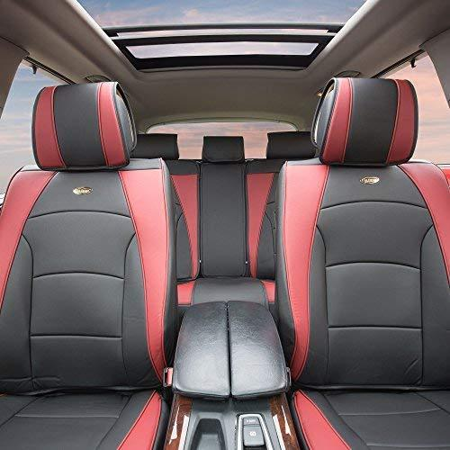FH Group PU205BLACKREDTRIM102 Black PU205102 Ultra Comfort Leatherette Front Seat Cushions (Airbag Compatible) Red Trim