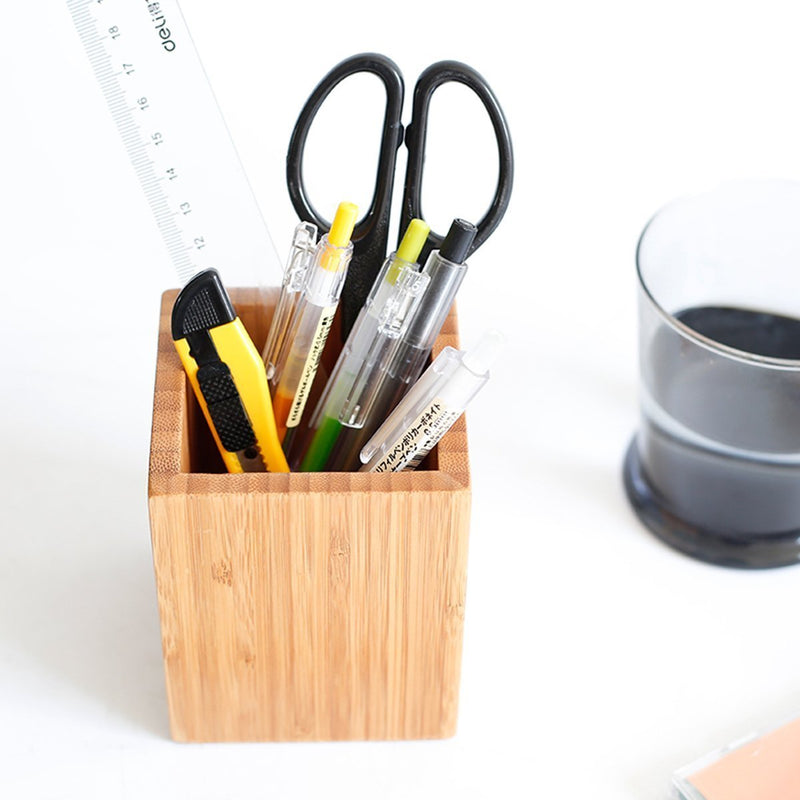 Tosnail 100% Bamboo Wood Desk Pen Pencil Holder Desk Organizer