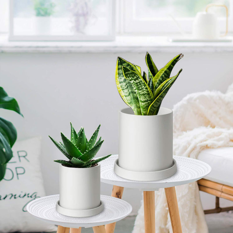 MoonLa Plant Pots - 5.7 + 4.8 Inch White Matt Ceramic Planter for Flower, Cactus, Succulent Planting, with Drainage Hole & Saucer, Set of 2 (Plants Not Included)