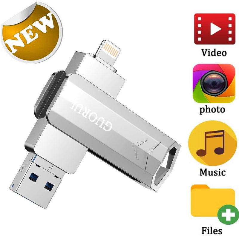 USB Flash Drive 256GB for iPhone Photo Stick backup iPhone Memory Stick External Storage Thumb Drive for iPhone 11 Pro X XR XS MAX 6 7 8 Plus iPad Pro PC Android Password Touch ID Protected Flash Gold