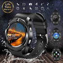 Smart Watch,Bluetooth Smartwatch Touch Screen Wrist Watch with Camera/SIM Card Slot,Waterproof Phone Smart Watch Sports Fitness Tracker Compatible Android Phone iOS Phones (V8-Black)