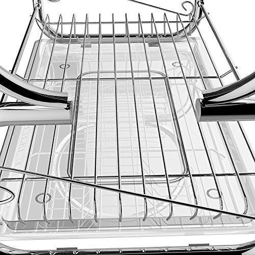 Bathwa 2 Tier Dish Drying Rack Dish Strainer Stainless Steel Wire Dish Holder Rack Large Dish Drainer with Dish Drainboard for Kitchen Sink Counter