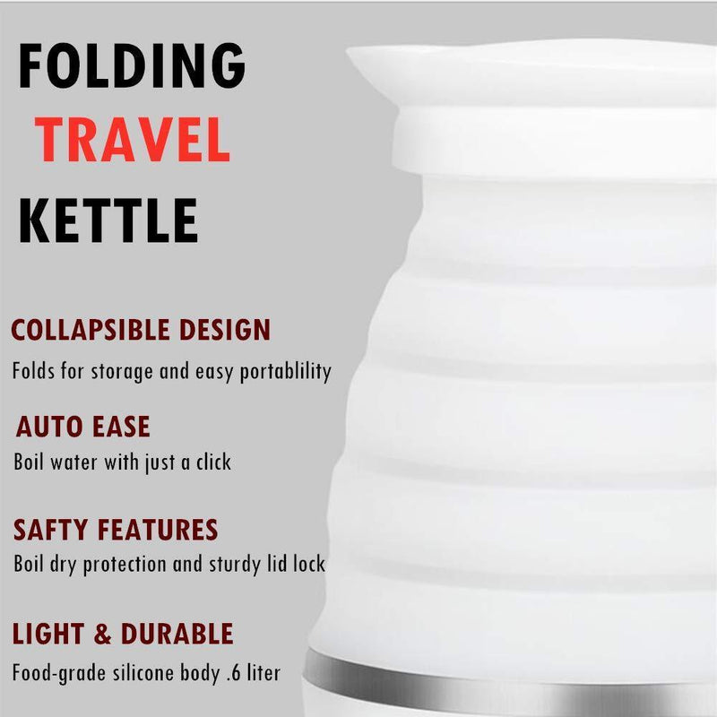 Nathome Travel Foldable Electric Kettle - Fast Water Boiling - Food Grade Silicone - Small, Collapsible, Portable - Boil Dry Protection - .6 Qt - 100/120v - 850W US Plug- White