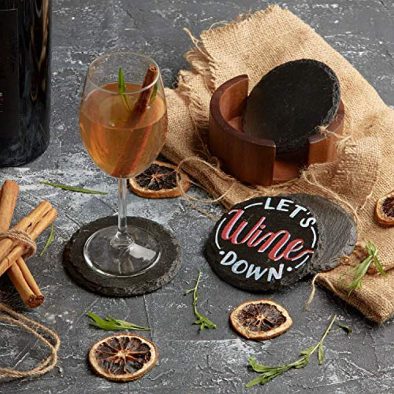 Slate Stone Rustic Beverage Drink Table Coasters Set with Acacia Wood Holder - Round, 4 Coasters