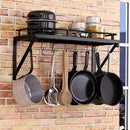 Pot Rack Organizer with Upgraded Hardware, Support Brackets & Welds, Wall Hanging Pot and Pan Organizer, 12 Hooks Included, Easy to Install, Kitchen Organization Solution for Heavy Pots and Pans
