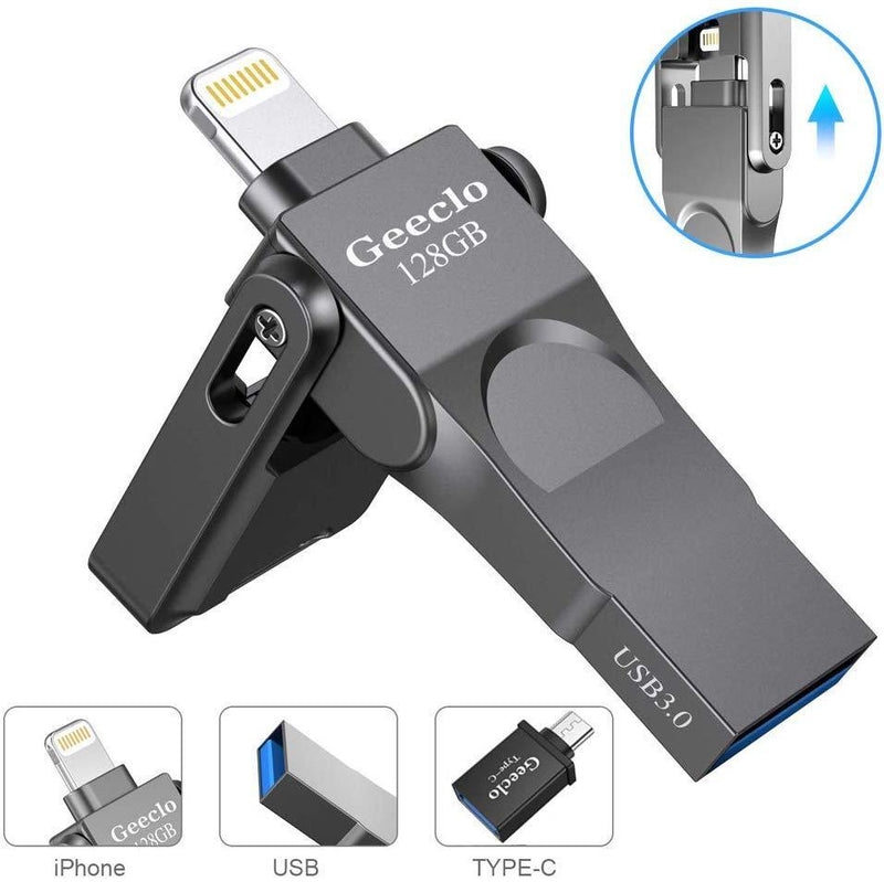 USB 3.0 Flash Drive for iPhone Geeclo iPhone Flash Drive 128GB iPhone External Storage USB 3.0 photostick Mobile for iPhone Computers Photo iPhone Picture Stick (Gray)
