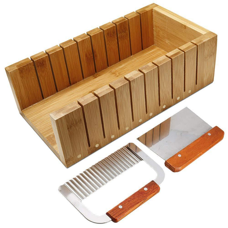 Soap Cutting Tool Set Wooden Loaf Cutter Mold + 2 Pcs Straight Wavy Stainless Steel Cutter Slicer