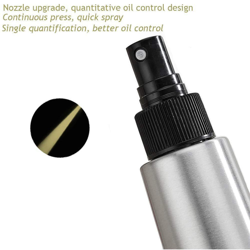 Olive Oil and Black Vinegar Disperser Bottle,200ml Stainless Steel Oil Mister,Oil Pump Controlinjection sprayer Bottle for Cooking BBQ Air Fryer kitchen