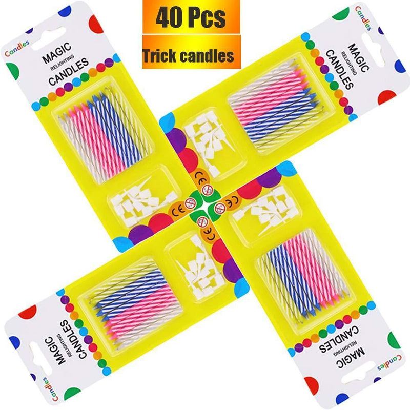 Bwealthest Magic Relighting Birthday Candles, 40 Pcs Trick Funny Candles for Birthday, Party, Christmas, Celebration (4 Pack)