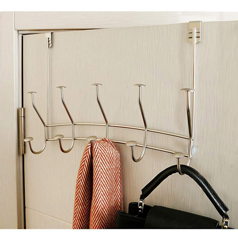 GeLive Over The Door Hook Rack, Stainless Organizer Hanger for Coat, Robe, Jacket, Belt, Hat, Towel, 10 Ceramic Knobbed Hooks, Chrome Bright (Multicolor)